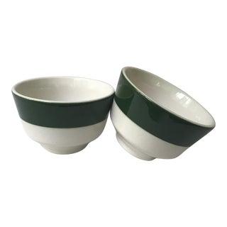 Homer Laughlin Green Band Bowls - A Pair