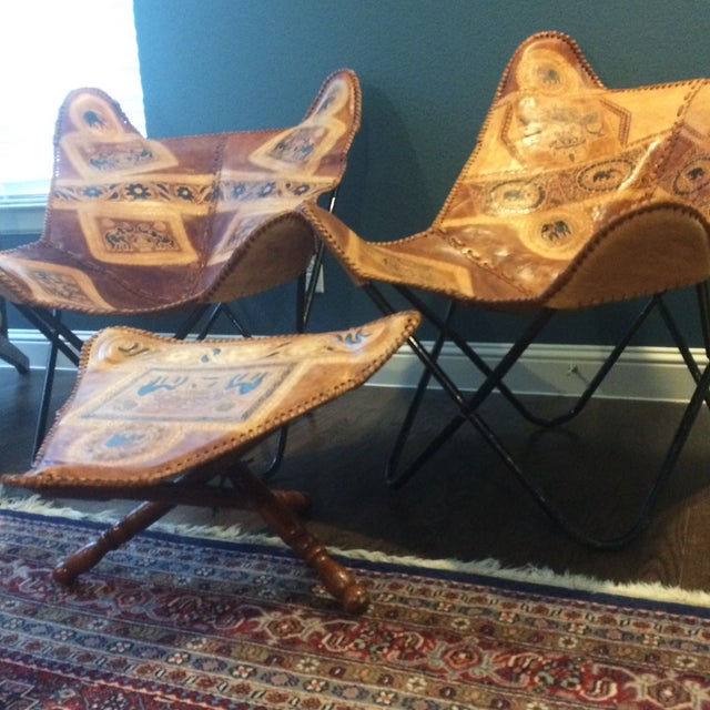 Vintage Leather Butterfly Chairs & Ottoman - Set of 3 - Image 6 of 10
