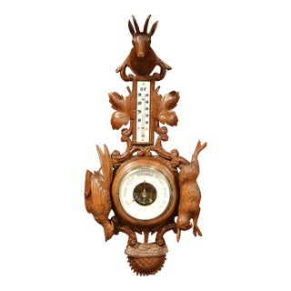 19th Century French Carved Walnut Black Forest Barometer with Deer and Guns