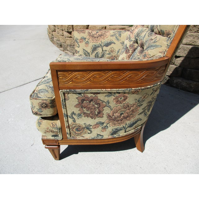 Tufted High Back Armchair With Beautiful Wood Detail - Image 6 of 11