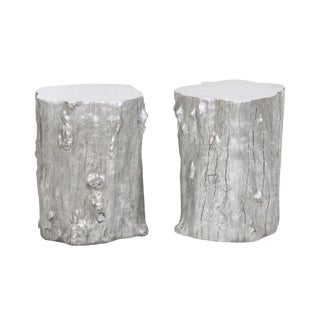 Silvered Tree Trunk Side Tables -- A Pair