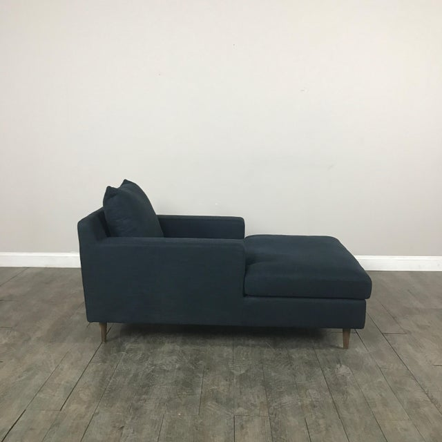 Modern Navy Chaise Lounge Sofa - Image 10 of 11