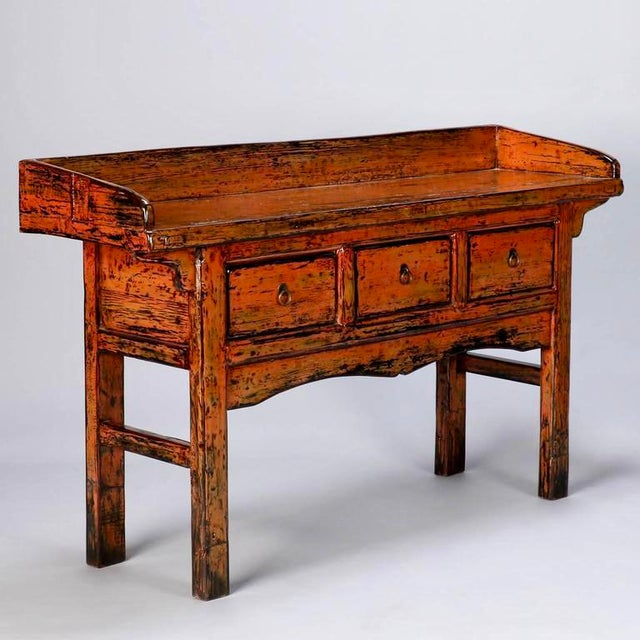 Chinese Painted and Lacquered Three-Drawer Console Table - Image 2 of 11