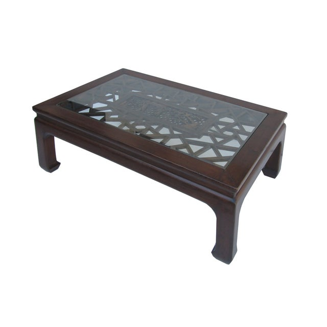 Chinese Recetangular Carved Panel Glass Coffee Tab - Image 3 of 5