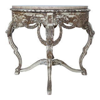 French Carved & Painted Stone Top Table