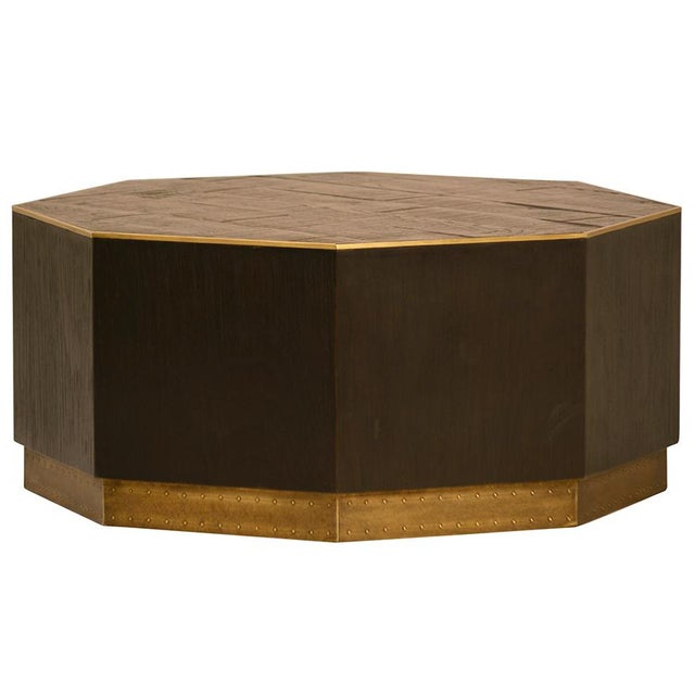 Wood Brass Octagon Coffee Table Chairish