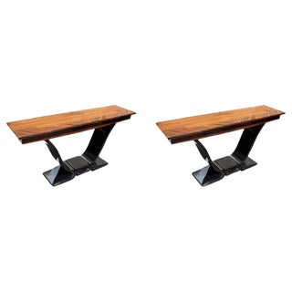 French Art Deco Macassar Ebony Console Tables - A Pair