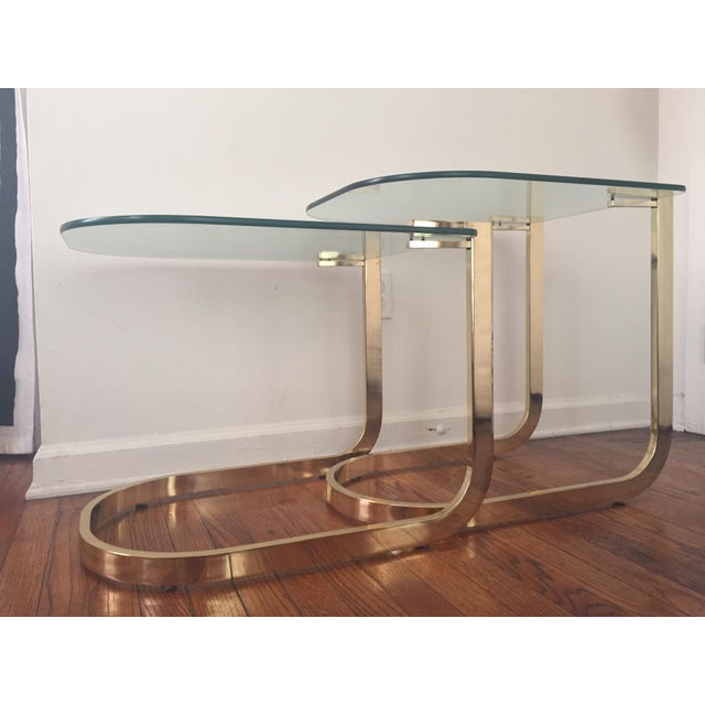 Milo Baughman Cantilevered Brass Nesting Tables - Image 8 of 10