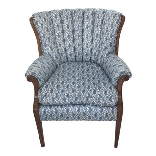 Blue Paisley Upholstered Arm Chair