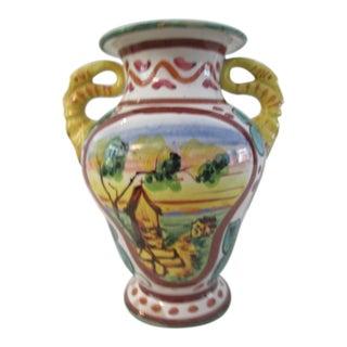 Italian Countryside Majolica Vase