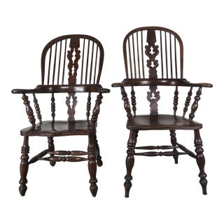 Pair of English Elm Wood Windsor Armchairs