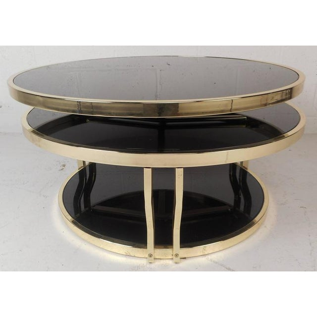 Mid-Century Modern Italian Brass And Smoked Glass Swivel