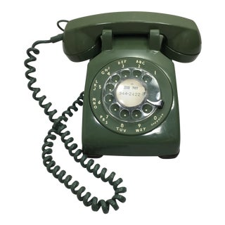 Moss Green Rotary Dial Telephone