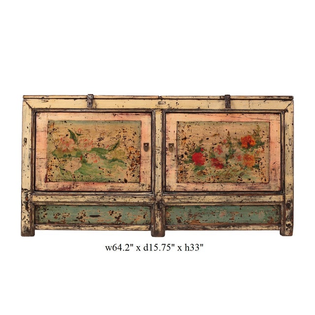 Chinese Gansu Pastel Yellow & Pink Console Cabinet - Image 5 of 5