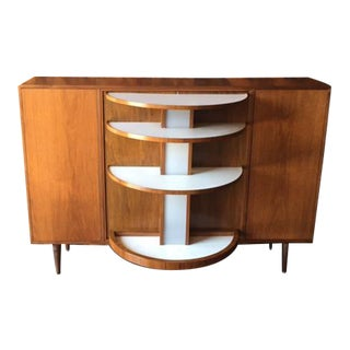 Mid Century Light Up Walnut Refinished Hidden Revolving Bar Cabinet