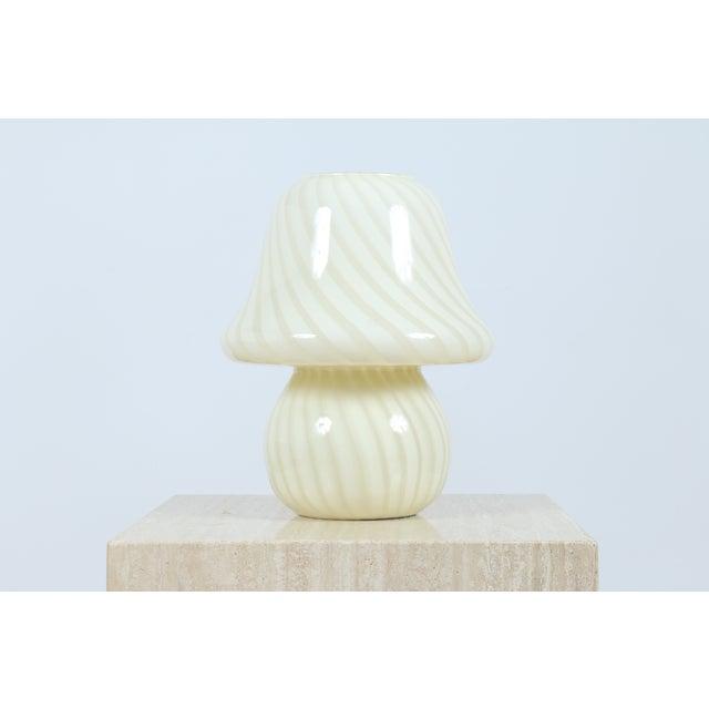 Murano White Mushroom Swirl Table Lamps - A Pair - Image 5 of 5