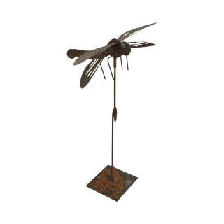 Hand Forged Dragonfly Garden Statue
