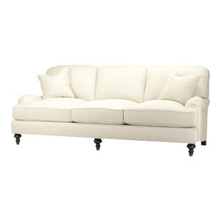 Spectra Home Traditional English Rolled-Arm Linen Sofa