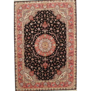 "Persian Tabriz Handmade Hand-Knotted Multi Color Silk & Wool Pile Rug - 8'1"" X 11'9"""