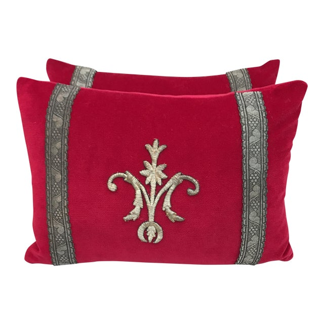 Red Appliqued Pillows - a Pair - Image 1 of 6