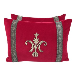 Red Appliqued Pillows - a Pair