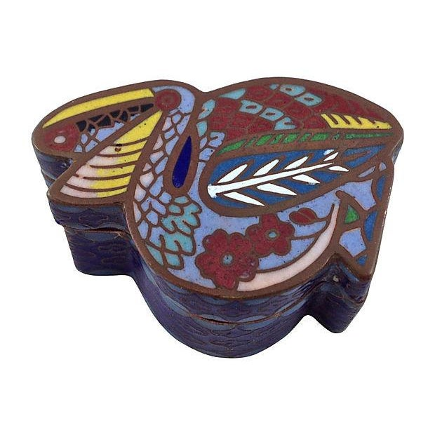 Image of Antique Asian Style Pelican Enamel Box