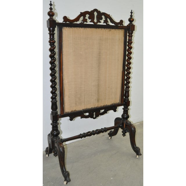 Image of 19th C. Hand Carved & Petit Point Fire Screen