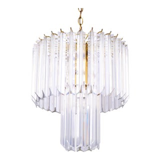 Round Two Tier Brass and Lucite Chandelier