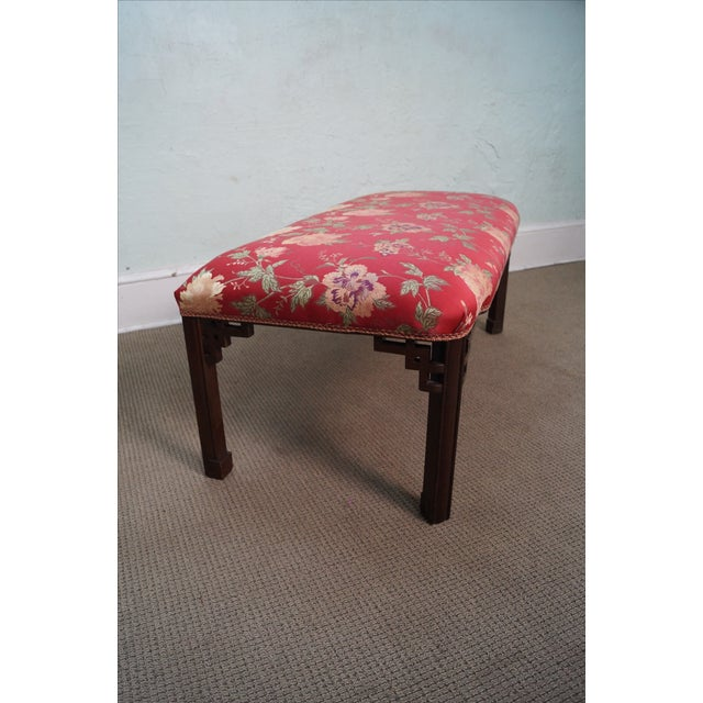 Image of Vintage 1940s Mahogany Chippendale Style Bench