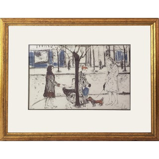 Vintage Fashionable Street Scene Lithograph