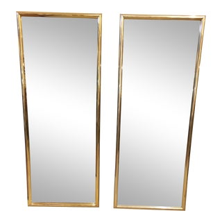 Eglomise Brass Framed Etched Mirror Panels - A Pair