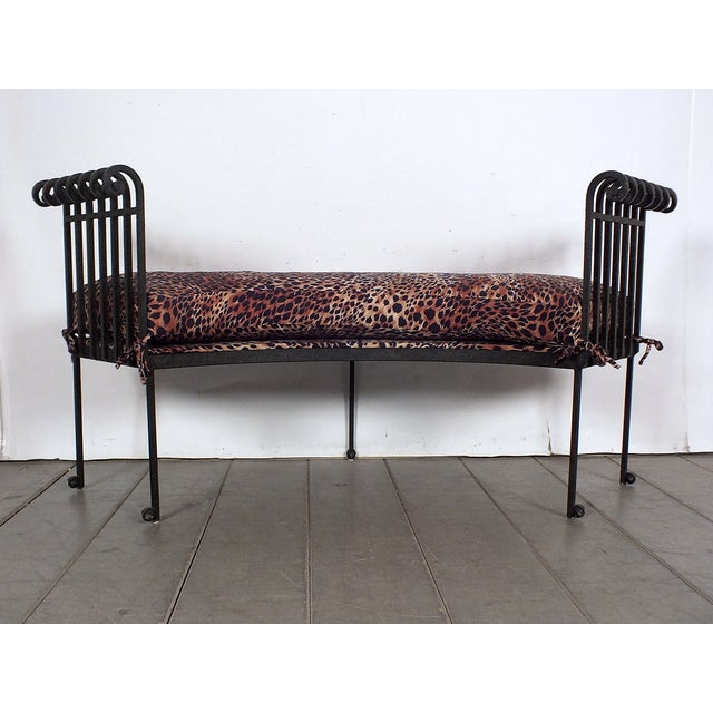 Image of Hammered Iron Upholstered Curved Bench Leopard