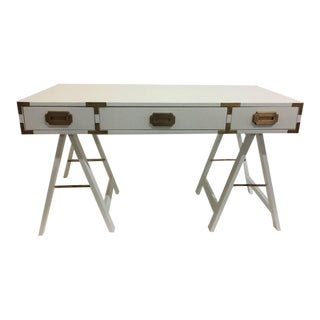 Vintage Campaign Desk with Original Patinated Brass Hardware