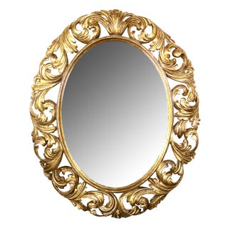 Well-Carved Italian Baroque Style Oval Giltwood Mirror