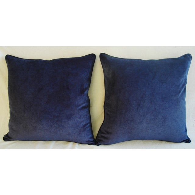 Large Designer Midnight Blue Velvet Feather/Down Pillows - Pair - Image 3 of 10