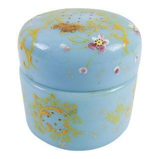 Antique Blue Opaline Enameled Glass Jar