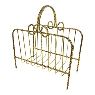 Vintage Brass Bow Magazine Rack