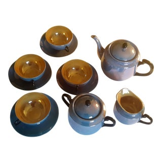 Japanese Blue Lustreware Tea Set- 7 Pieces