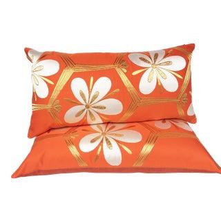 Orange Vintage Kikku Obi Pillows - a Pair