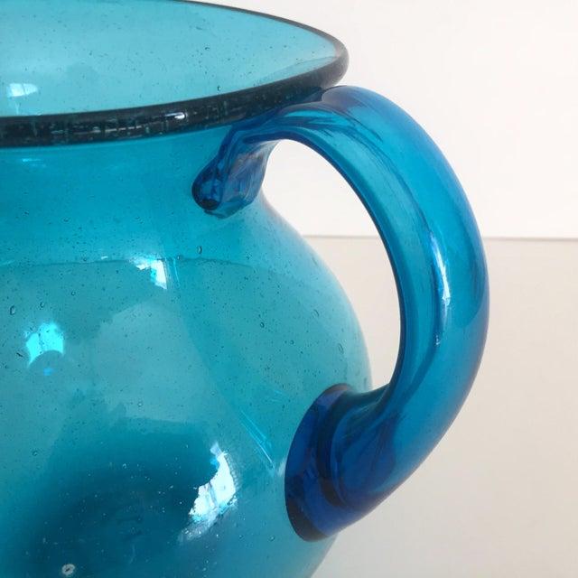 Image of Mid-Century Blue Blenko Glass Pitcher