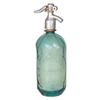 Vintage European Aquamarine Seltzer Bottle