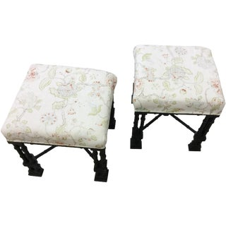Chinese Chippendale Uphosltered Stools - A Pair