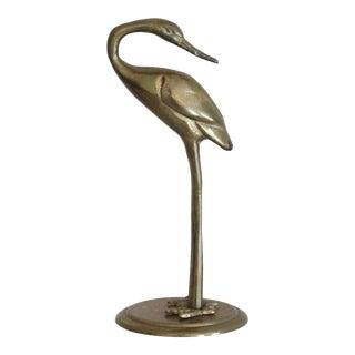 Vintage Brass Crane Figurine Mid Century