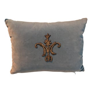 Soft Blue Metallic Appliqued Pillow
