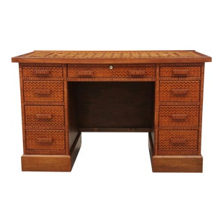 Hand Made Parquetry Kneehole Desk, Signed CF Watson