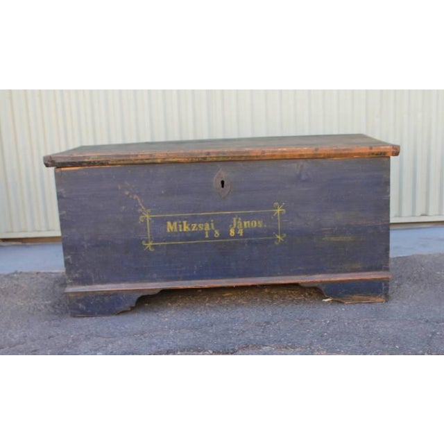 19th Century Original, Blue Painted Blanket Chest - Image 4 of 10