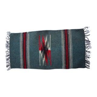 Small Chimayo Hand Woven Wool Textile Sample Rug - 9″ × 1′7″