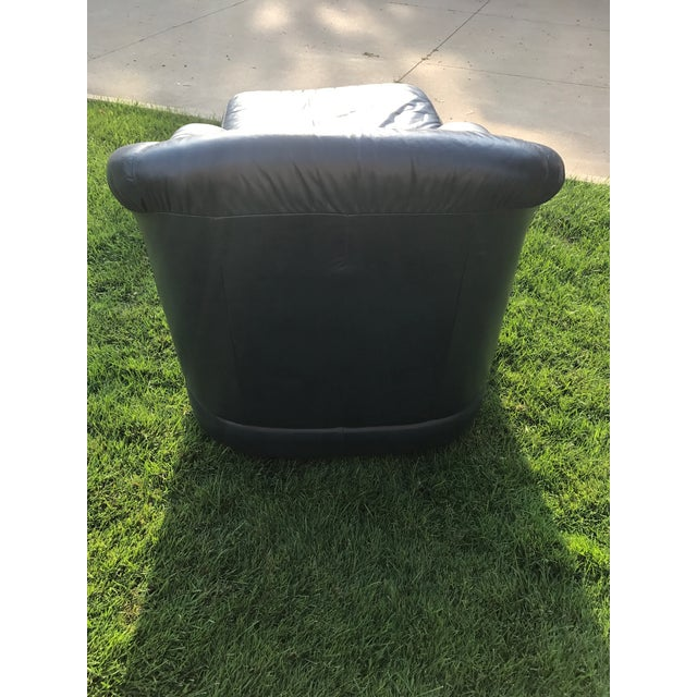 Mid-Century Modern Blue Leather Barrel Chair & Ottoman - Image 6 of 7