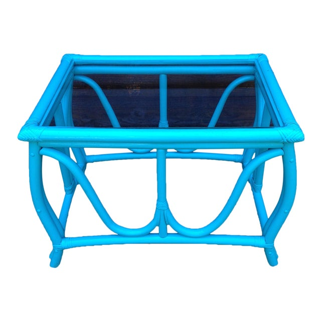Blue Vintage Rattan Table - Image 1 of 7