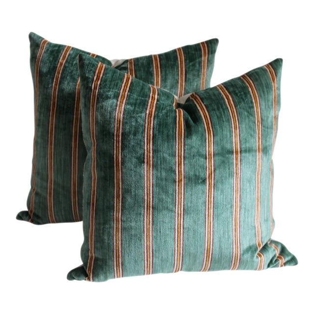 Striped Velvet Pair of Pillows - Image 1 of 4